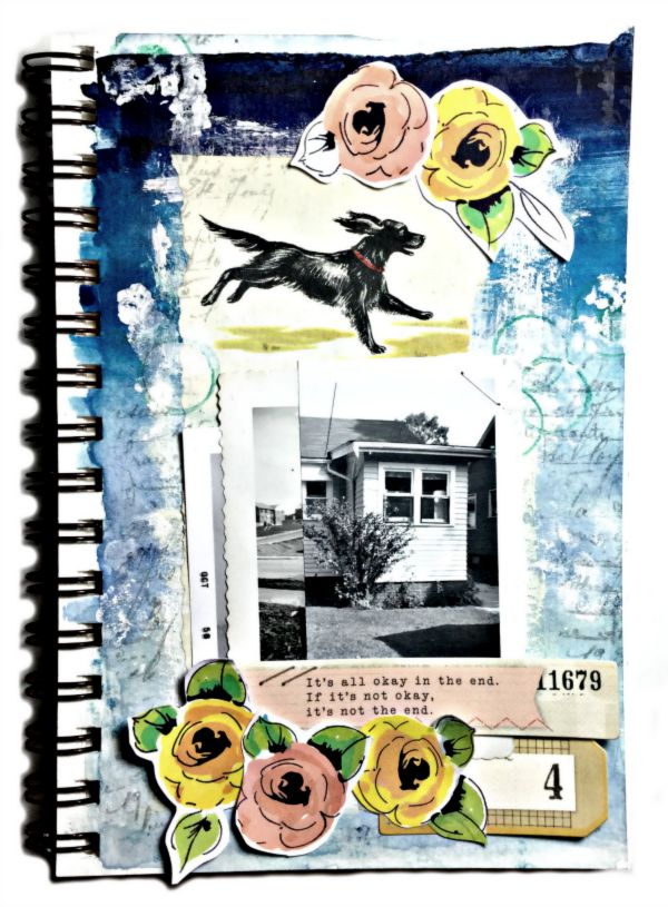 Ombre Background Art Journal page with Altenew Stamps