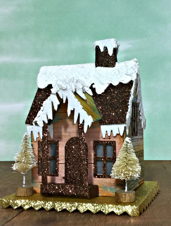 Tim Holtz Village Dwelling Winter Cabin Glitter Putz house for Simon Says Stamp