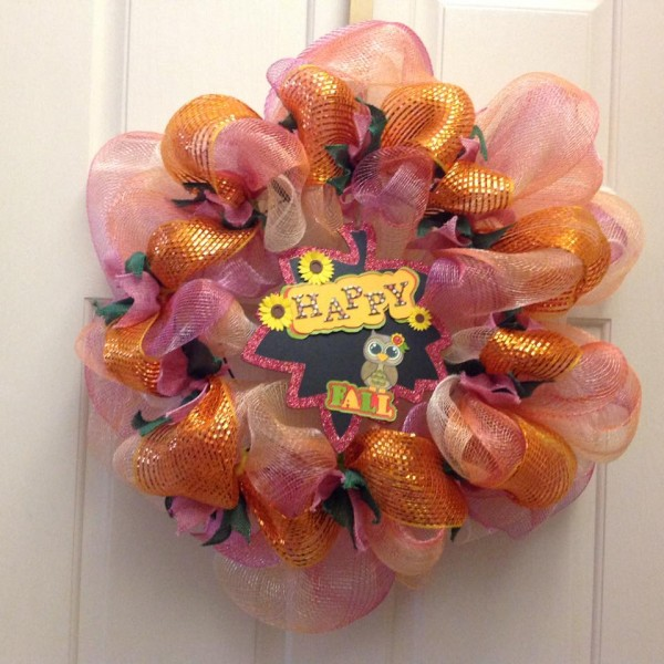 Happy Fall Mesh Wreath 2015