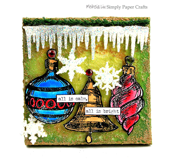 meihsia-liu-simply-paper-crafts-mixed-media-canvas-trio-tastic-ornaments-snowflakes-tim-holtz-simon-says-stamp-monday-challenge-600