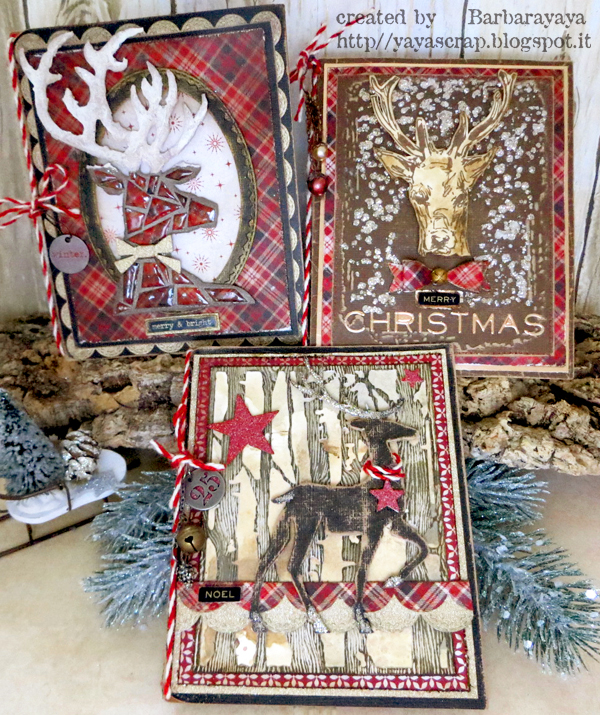 of christmas cards using three different deer by tim holtz scribble woodland stamps dashing deer and prancing deer bigz dies and a lots of idea ology