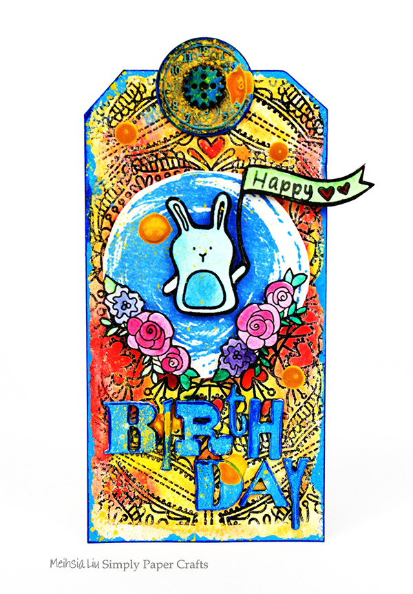 meihsia-liu-simply-paper-crafts-mixed-media-tag-birthday-rabbit-simon-says-stamp-tim-holtz