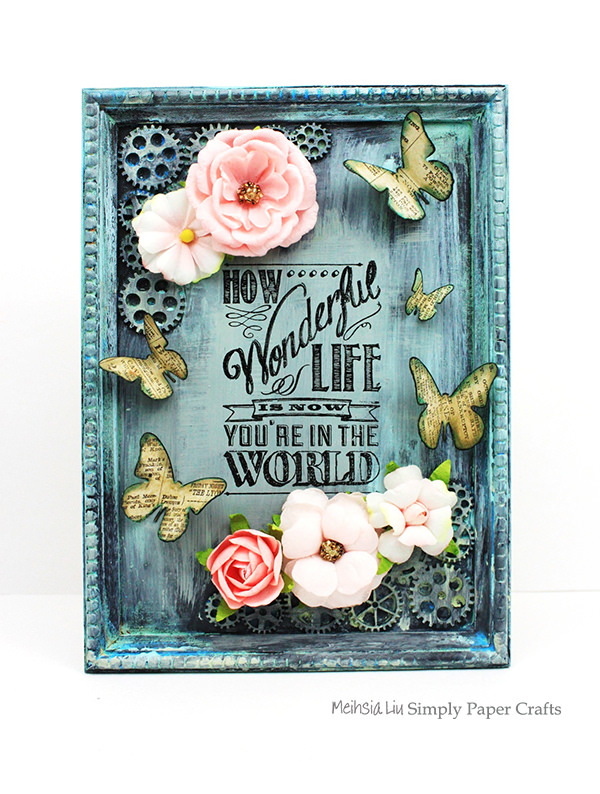 meihsia-liu-simply-paper-crafts-mixed-media-frame-simon-says-stamp-monday-challenge-tim-holtz-prima-flowers
