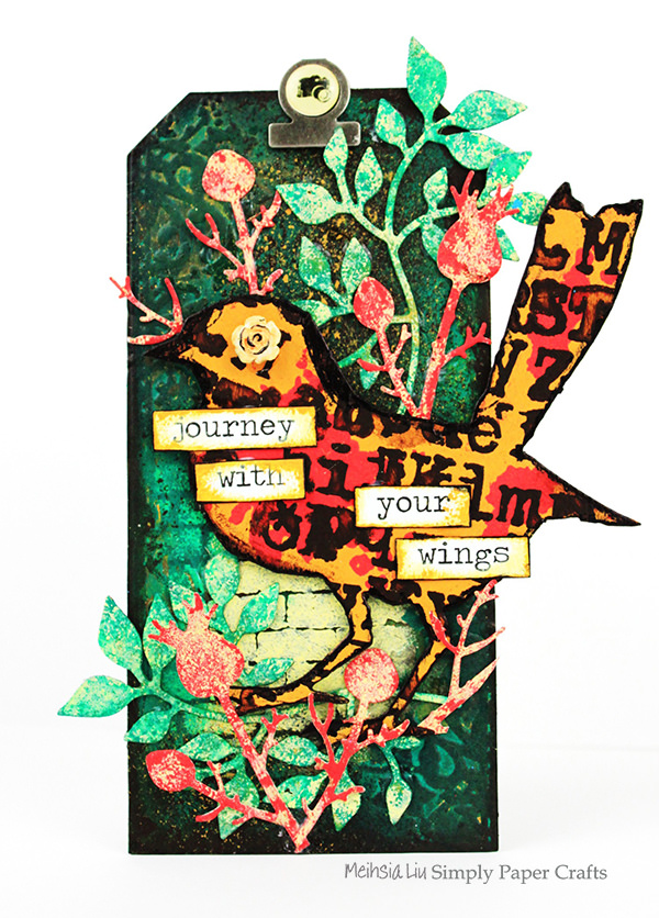 meihsia-liu-simply-paper-crafts-mixed-media-tag-simon-says-stamp-tim-holtz-paper-artsy-bird-outdoor-leaves