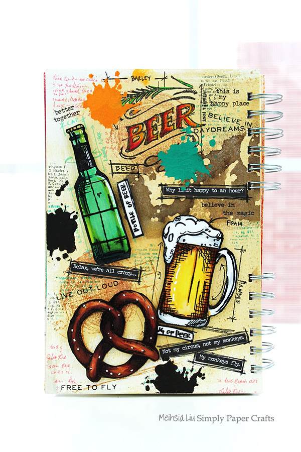 Simon says food andor drink simon monday challenge blog meihsia was inspired to make a mixed media art journal page using tim holtz cling rubber stamps beer blueprint and colored the images using copic markers malvernweather Choice Image