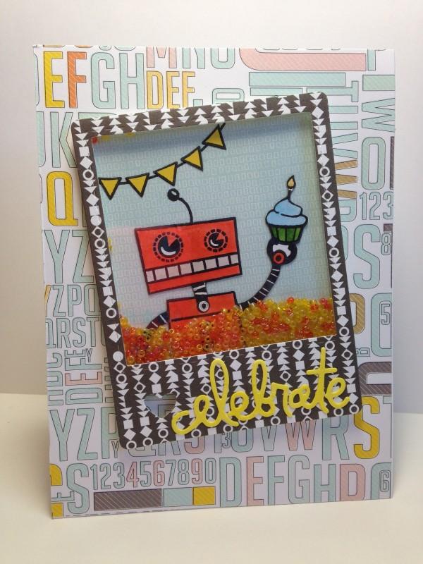 Celebrate Robot card by Rachel K