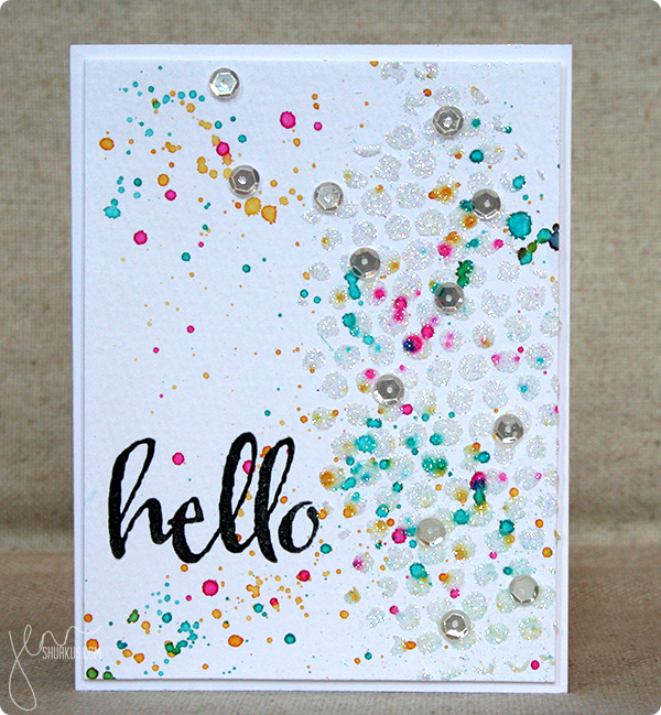 hello card by Jenn Shurkus for Embossing challenge | simonsaysstamp.com