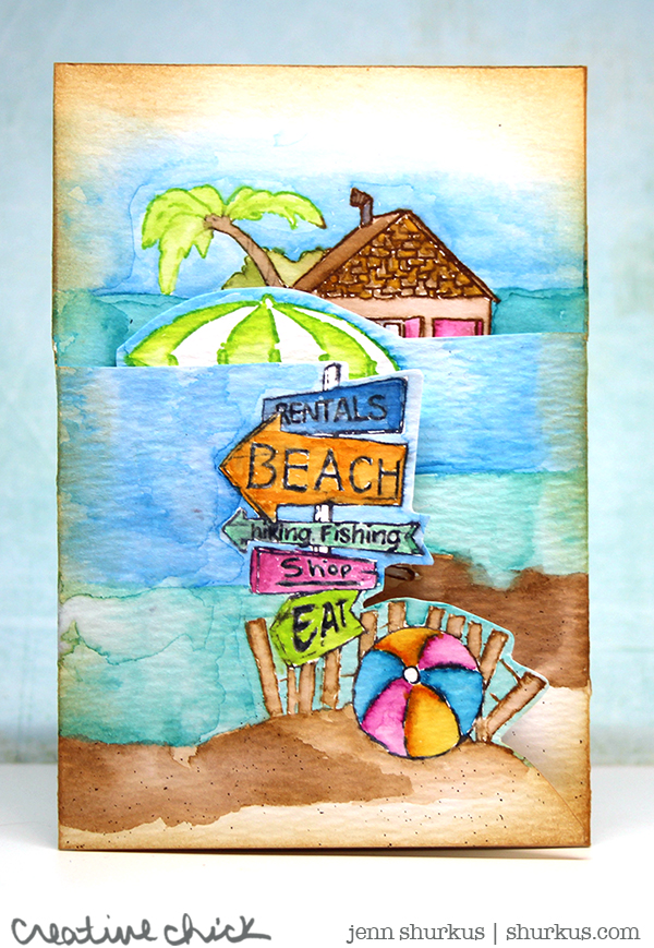 Watercolored Beach Scene, Featuring Art Impressions | shurkus.com