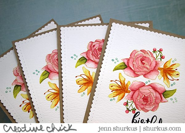 Watercolored Rose Cards with Distress Inks, Altenew | shurkus.com