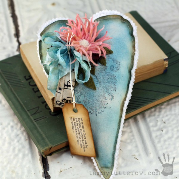 Tammy Tutterow | Felt Flower Gift Heart 1