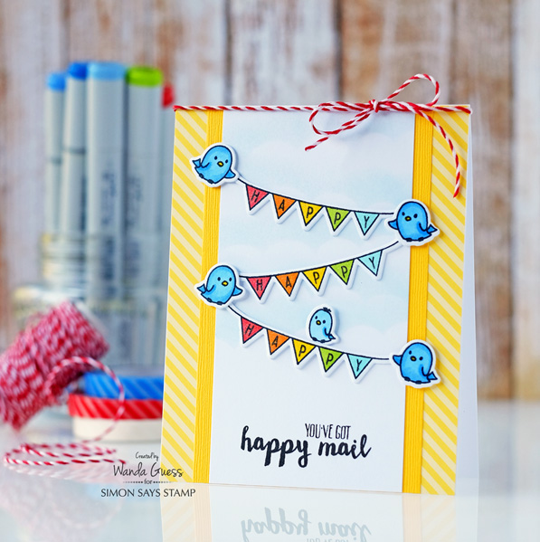 WPLUS9 Happy Mail stamps and dies. Wanda Guess for the Simon Says Stamp blog