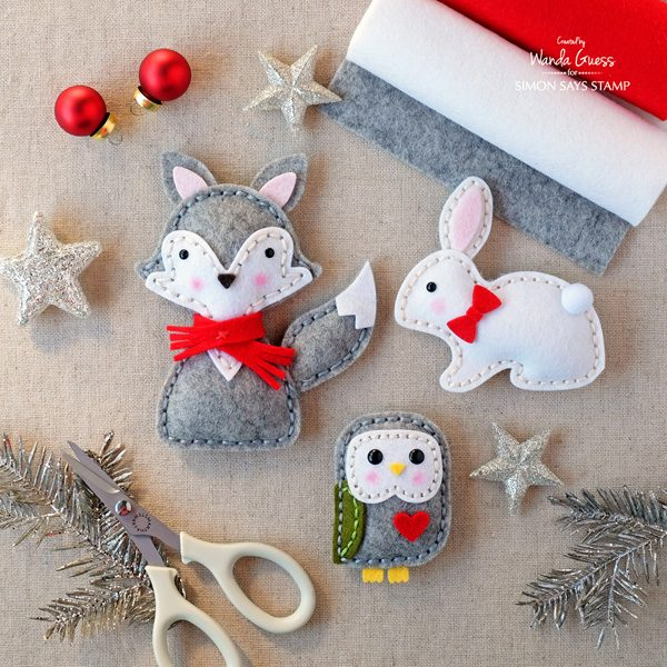 Weekender with wanda winter plush animals simon says for Felt christmas crafts for kids