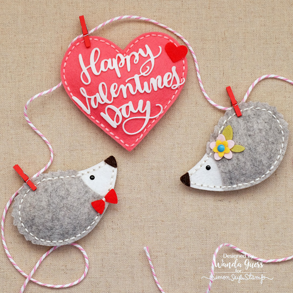 Handmade felt banner with heart and hedgehogs. Memory Box and Simon Says Stamp dies