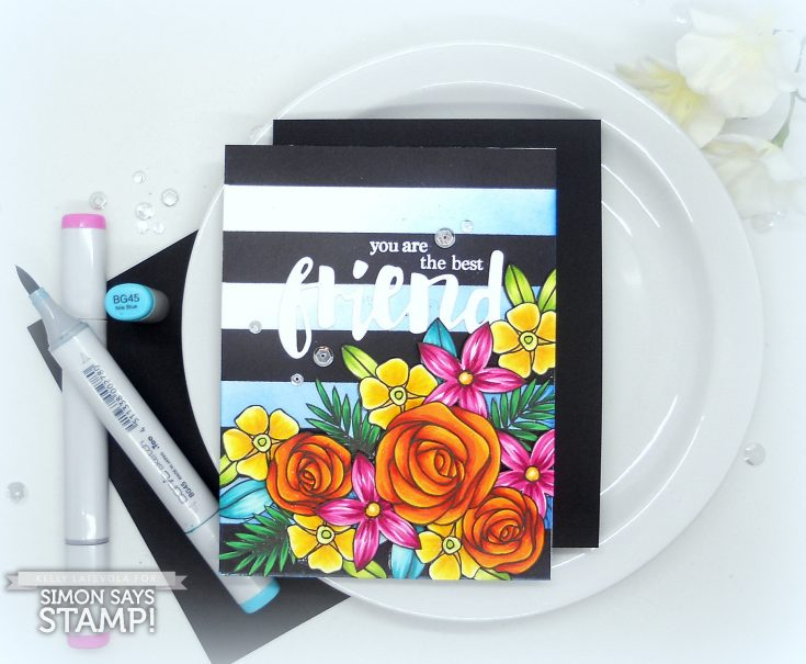 Striped Floral Stamping + Copic Coloring