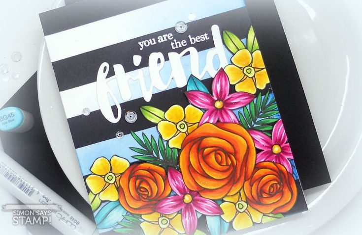 Striped Floral Bouquet with Copic Coloring - Simon Says Stamp Blog
