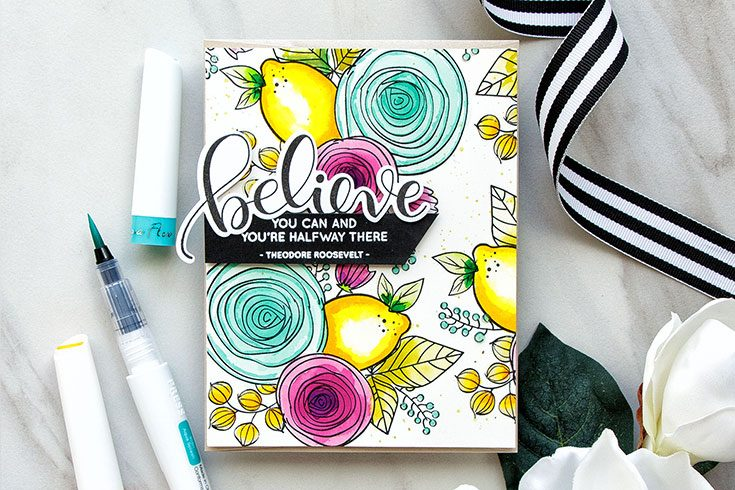 Yippee for Yana: Stamped & Watercolor Pattern with Nuvo Aqua Flow Pens