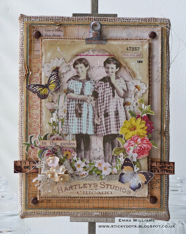 In the Garden Burlap Panel by Emma Williams