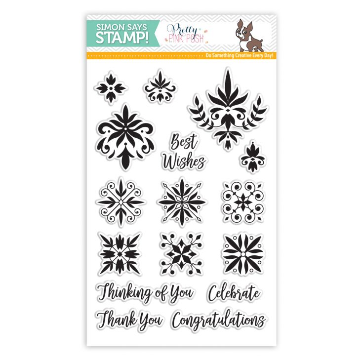 Pretty Pink Posh DAMASK GREETINGS Clear Stamps SSS101779 Stamptember Exclusive