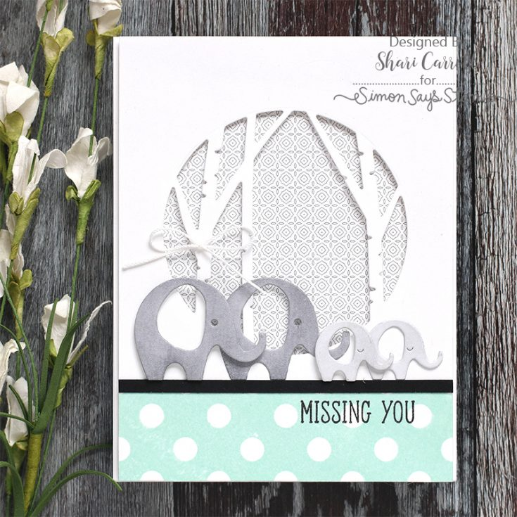 Simon Says Stamp Best Days Release Shari Carroll Sweet Elephants Reverse Polka Background