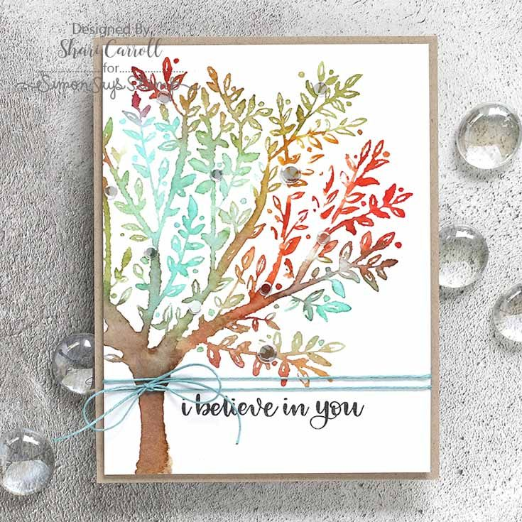 Simon Says Stamp Friends Release Shari Carroll Brushed Branches Background