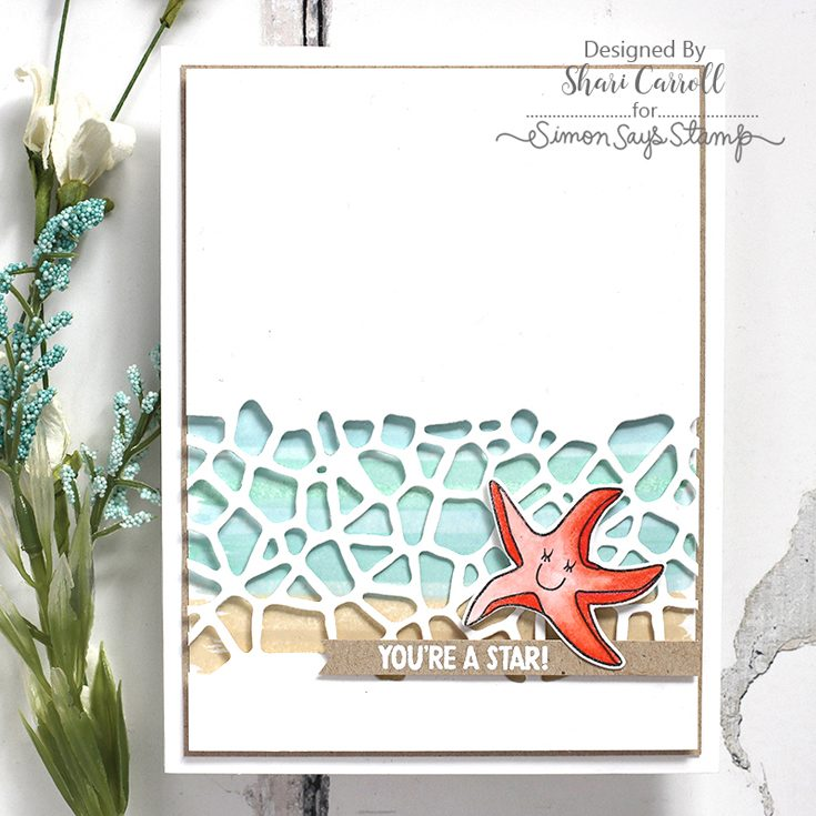 Simon Says Stamp Fluttering By Release Shari Carroll Under the Sea stamp set and Pebbles die