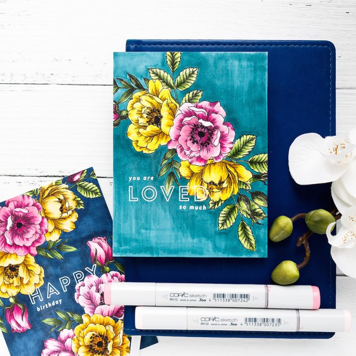 Yippee for Yana: One Layer Floral Copic Colored Cards