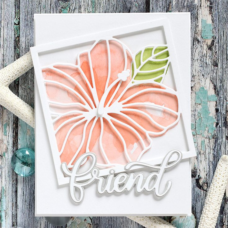 Simon Says Stamp Good Vibes Release Shari Carroll Big Friend and Hibiscus Frame dies