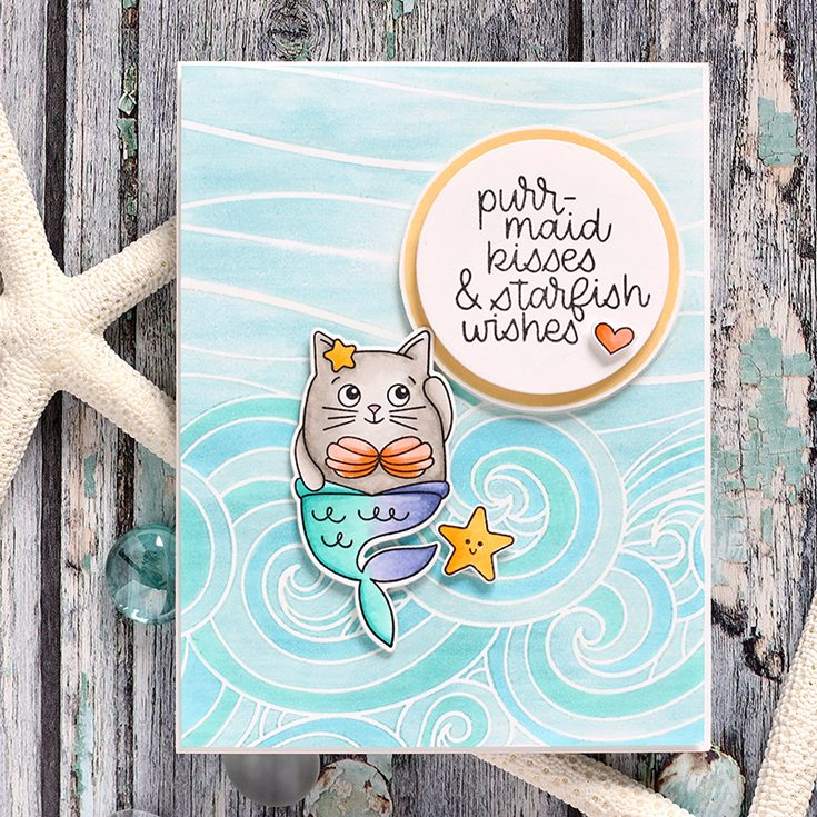 Simon Says Stamp Good Vibes Release Shari Carroll Summer Cuddly Critters stamp set and Beachy Waves background stamp
