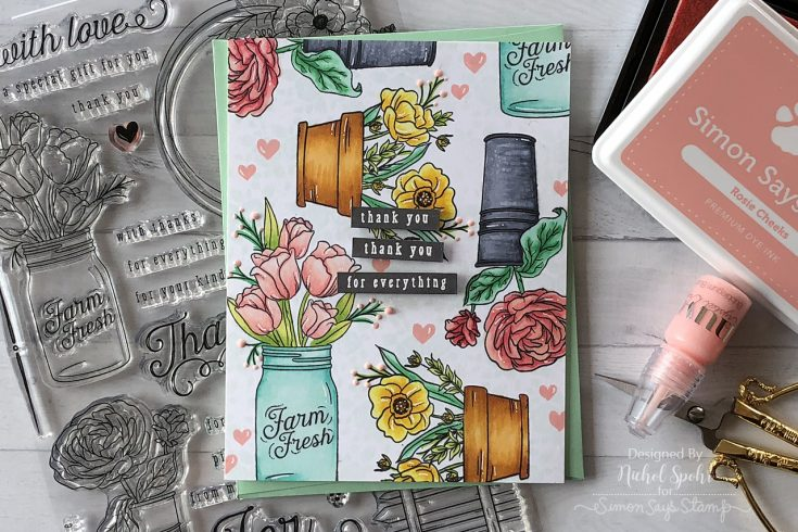 August Card Kit Custom Stamped Background