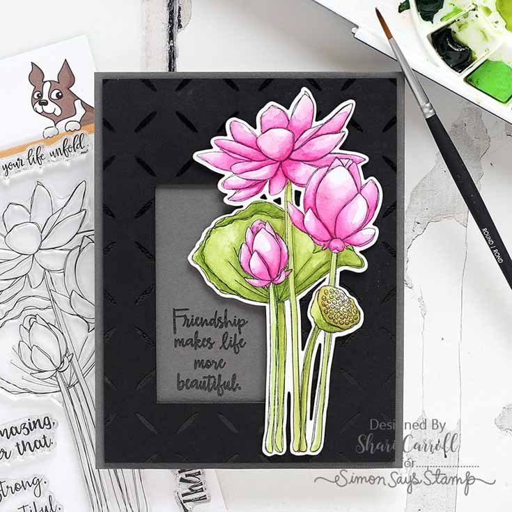 Friendly Frolic Blog Hop Shari Carroll Sketch Lotus Flowers stamp set and Diamond Pattern background stamp