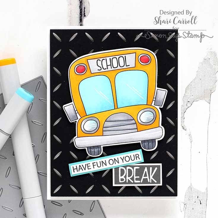 Friendly Frolic Blog Hop Shari Carroll School Bus Messages stamp set and Diamond Pattern die