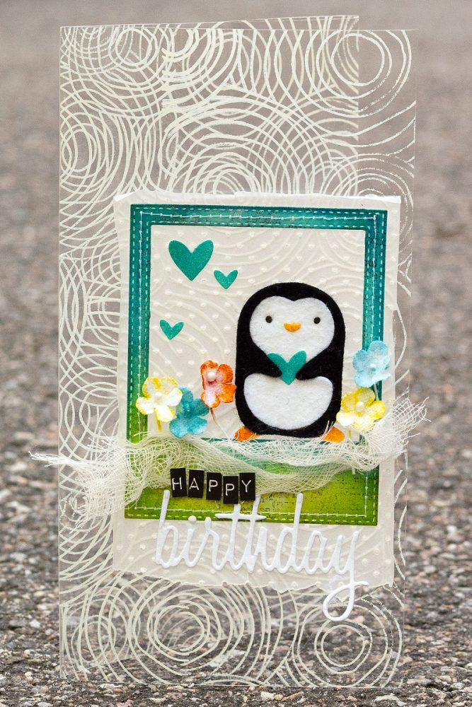 Clear Penguin Birthday Card