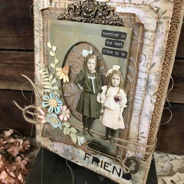 Together Burlap Panel by Richele Christensen