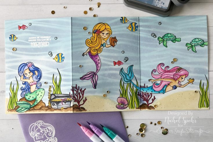Mermaid Tri-Fold Card featuring our Sea Treasure September 2018 Card Kit!