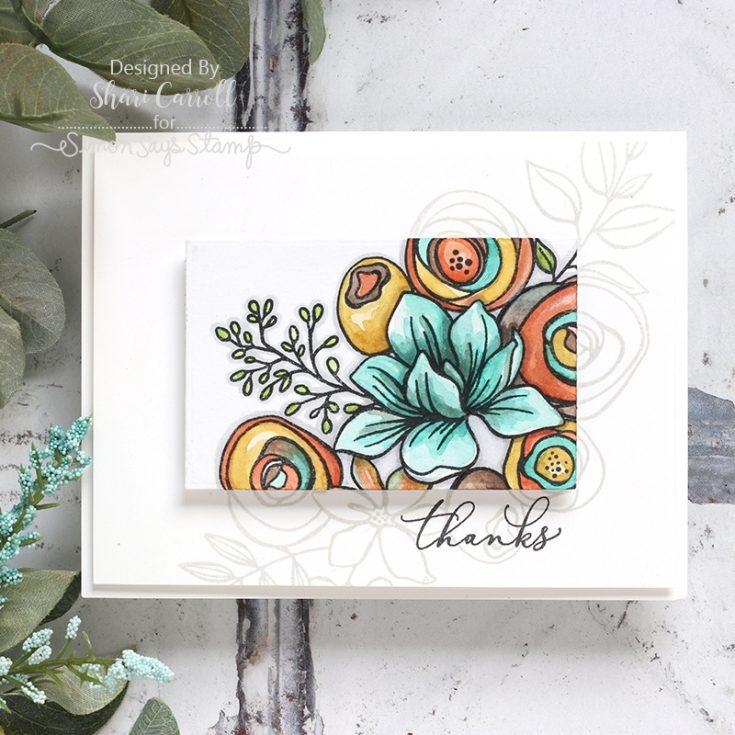 Shari Carroll, Card Kit, Sketched Flowers