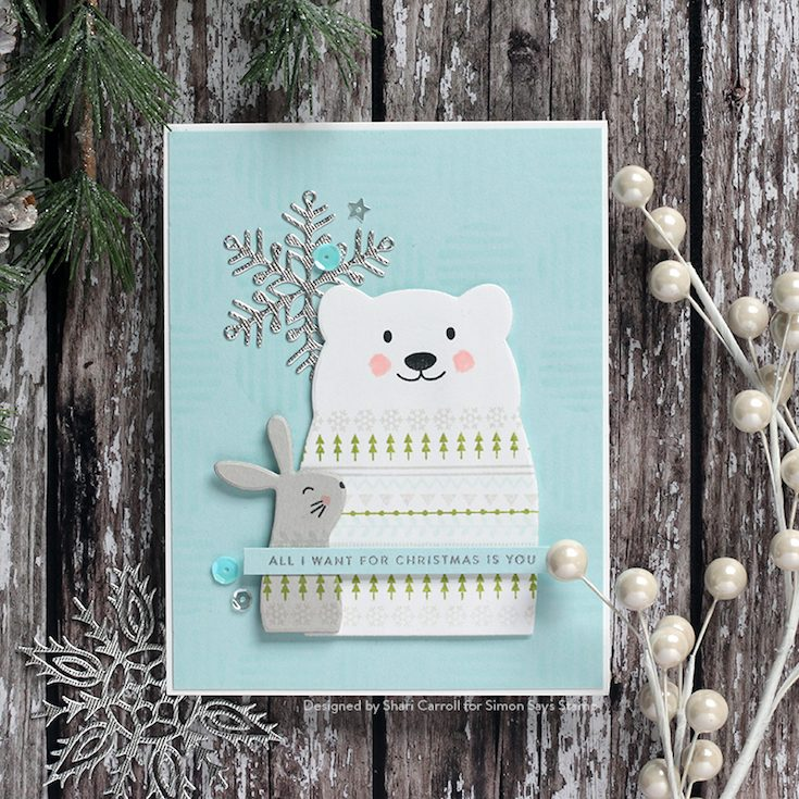 Fun and Festive Blog Hop Shari Carroll Critter Sweaters and Tiny Words Christmas stamp sets, Line Circles stencil, and Rina Snowflake and Critter Sweaters dies