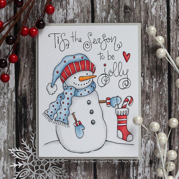 Fun and Festive Blog Hop Shari Carroll Suzy's Snowmen Watercolor Prints