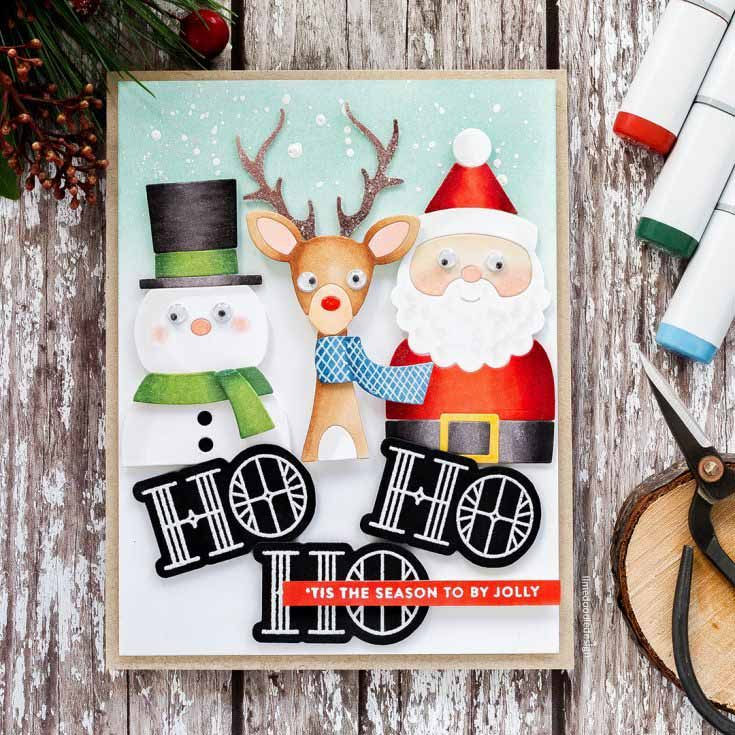 Debby Hughes Simon Says Stamp October Throwback Thursday Picture Book Deer die, Picture Book Snowman die, Picture Book Santa die, and Stained Glass Greeting stamp set Making Spirits Bright