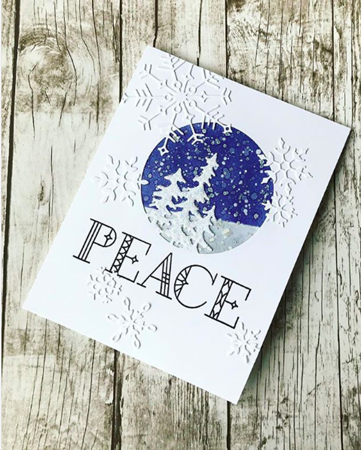 Barb Engler Simon Says Stamp November 18 Throwback Thursday Evergreen Circle and Big Joy Snowflake dies and Stained Glass Greetings stamp set Diecember®