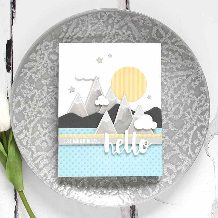 Shari Carroll Simon Says Stamp December 18 Throwback Thursday From the Rooftops stamp set and dies, Painted Hello, Picture Book Sky, and Moon and Stars dies