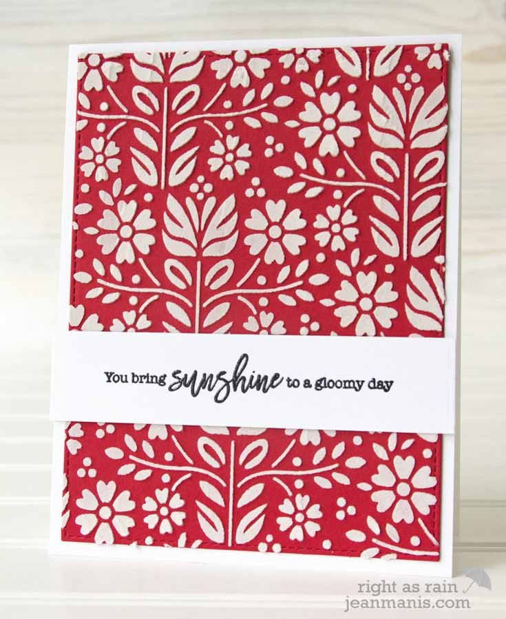 Jean Manis Simon Says Stamp January 19 Throwback Thursday Choose Joy stamp set and Folk Dance Stencil