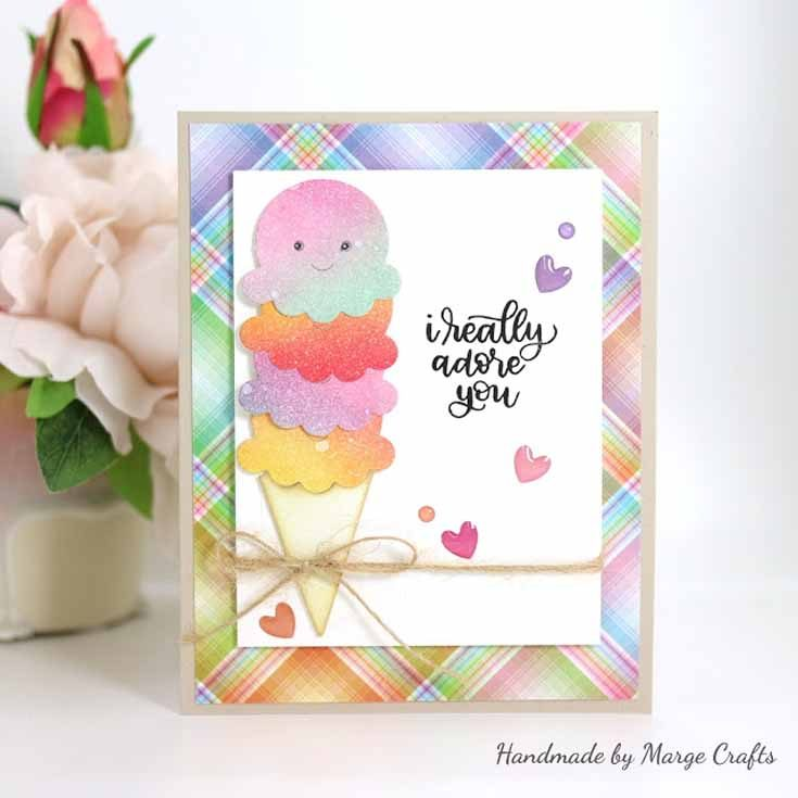 Marge Yoon Simon Says Stamp January 19 Throwback Thursday Handwritten Love stamp set and Picture Book ice Cream Cone die