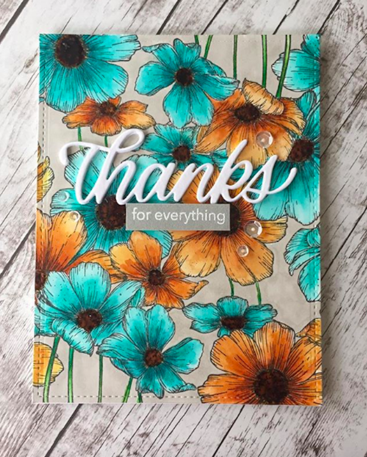 Pam Torkelson Simon Says Stamp January 19 Throwback Thursday Cosmos Background stamp and Big Thanks die