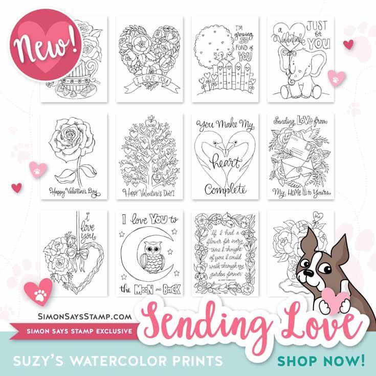 Simon Says Stamp Suzy's SENDING LOVE Watercolor Prints