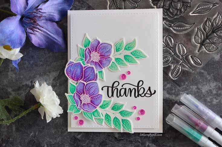 Amanda Korotokova Simon Says Stamp February 19 Throwback Thursday Even More Spring Flowers stamp set and coordinating dies and Big Thanks Words stamp set