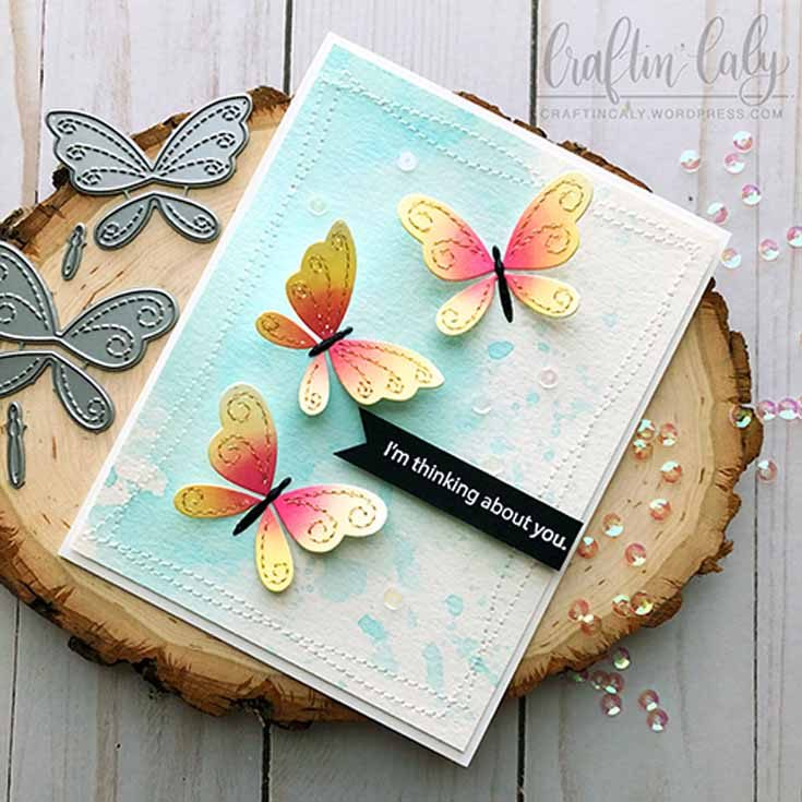 Caly Person Simon Says Stamp March 19 Throwback Thursday Stitching Butterflies die and Messages for Everyday stamp set