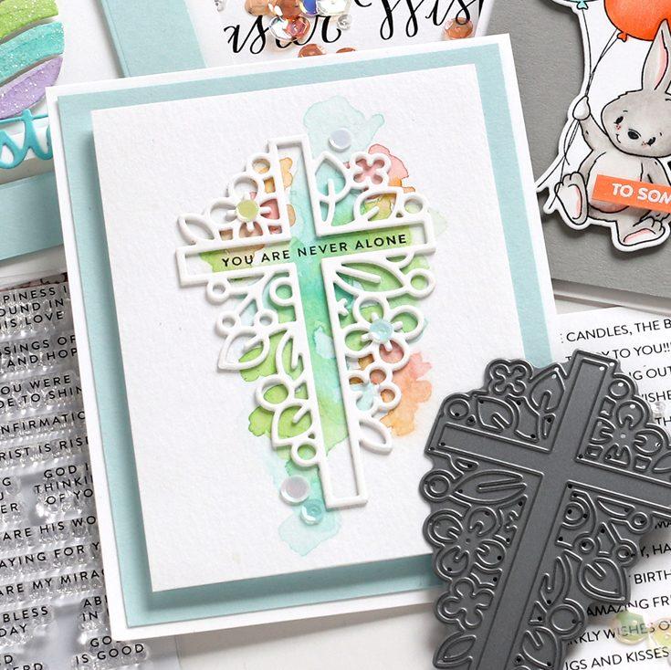 Fresh Bloom Blog Hop Shari Carroll Tiny Words Faith stamp set and Outline Floral Cross die
