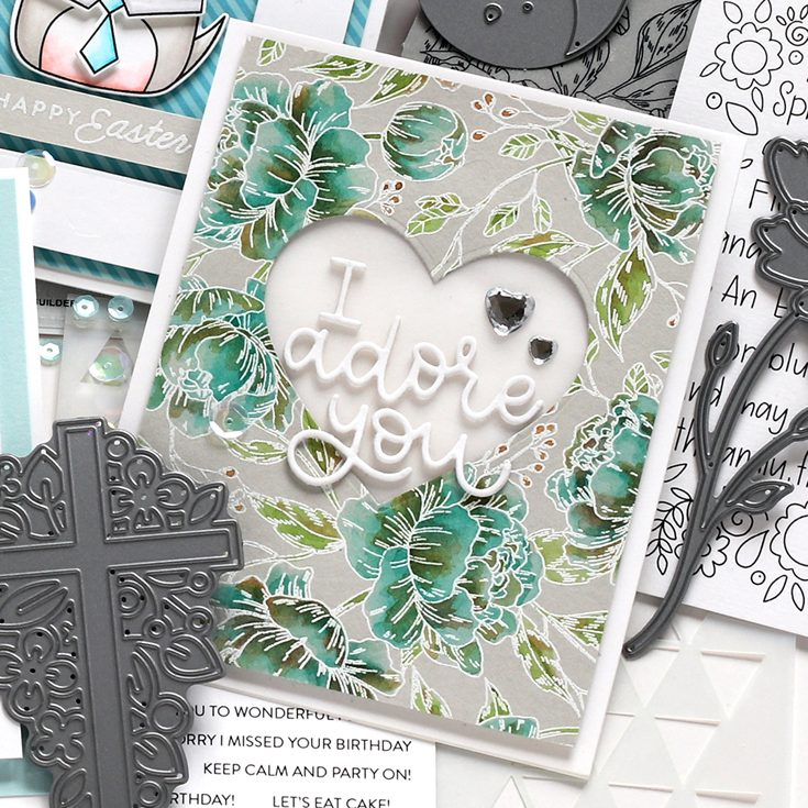 Fresh Bloom Blog Hop Shari Carroll Pretty Peonies Background stamp and I Adore You die