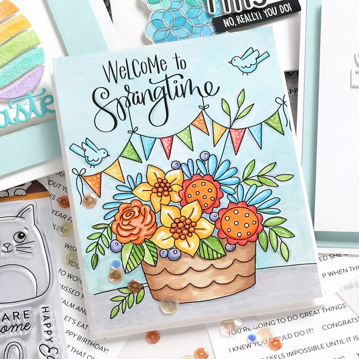 Fresh Bloom Blog Hop Shari Carroll You're Tweet Suzy's Watercolor Cards