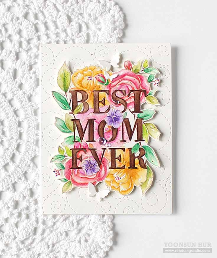 Yoonsun Hur Simon Says Stamp March 19 Throwback Thursday Best Mom stamp set and Flickering Butterflies and Stitched Whirl Background dies